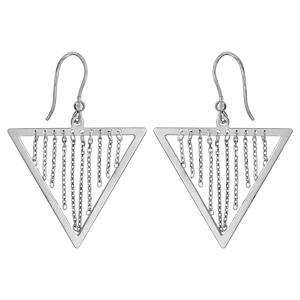 Image of Boucles d'oreille argent rhodié triangle avec chaînettes fermoir crochet