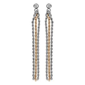 1001 Bijoux - Boucles d'oreille tige argent rhodié 3 chaînes cordes 1 dorure jaune pas cher