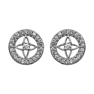 1001 Bijoux - Boucles d'oreille tige argent rhodié rondes contours oxydes blancs sertis fleur au centre pas cher