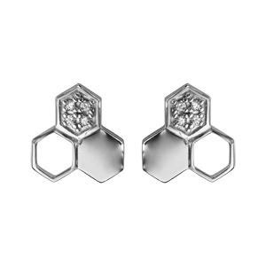 Image of Boucles d'oreille tige argent rhodié 3 éléments forme géometrique oxydes blancs sertis