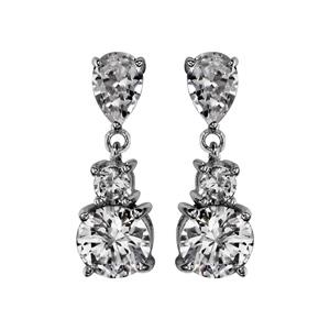 Image of Boucles d'oreille tige argent rhodié pendantes 3 oxydes blancs sertis