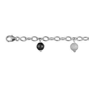 Image of Bracelet argent rhodié pampilles boules givrées et boules noires