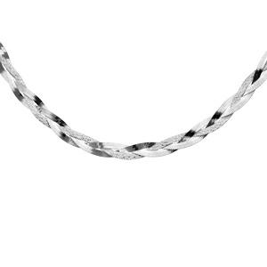 Image of Collier argent tressé 2 mailles dont 1 diamantée