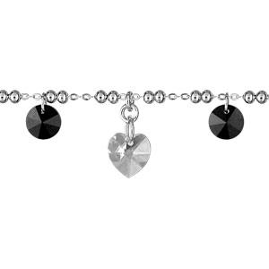 Image of Bracelet argent rhodié multi boules et pampilles noires et coeurs