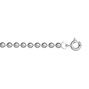 1001 Bijoux - Bracelet argent maille boule - 3mm / 18cm pas cher