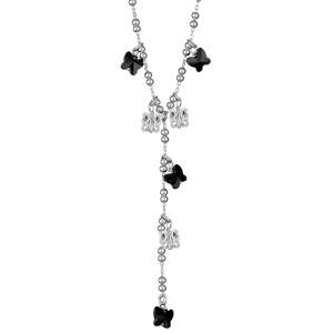Image of Collier argent rhodié forme y mulit boules + papillons noirs