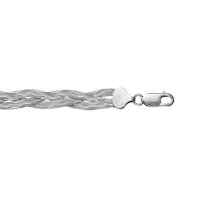 1001 Bijoux - Bracelet argent rhodié 3 mailles plates tressées longueur 18,5cm pas cher