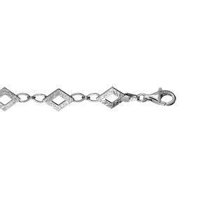 1001 Bijoux - Bracelet argent rhodié 8 motifs losanges martelés réglable 17+4cm pas cher