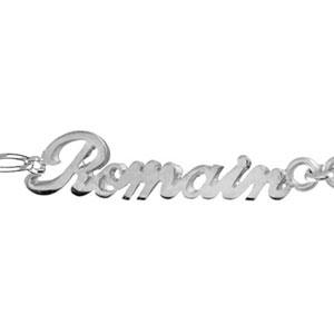 1001 Bijoux - Bracelet argent 1+1 2mm découpe anglaise 2 prénoms et coeur pas cher