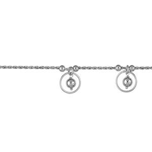 1001 Bijoux - Bracelet argent rhodié chaine corde 3 cercles avec boules 19cm pas cher