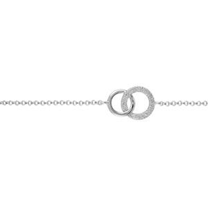 1001 Bijoux - Bracelet argent rhodié duo de cercles entremelés et pierres blanches synthétiques 16+2cm pas cher