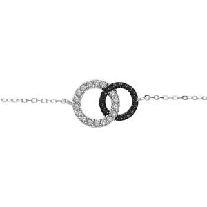 1001 Bijoux - Bracelet argent rhodié 2 cercles entremelés pierres blanches et noires 16+1+1cm pas cher
