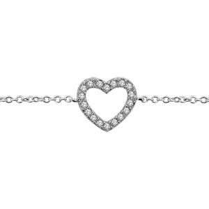 1001 Bijoux - Bracelet argent rhodié coeur ajouré pierres blanches 15,5+1,5cm pas cher