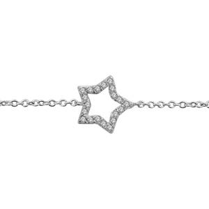 1001 Bijoux - Bracelet argent rhodié étoile ajourée contour pierres blanches 16+2cm pas cher