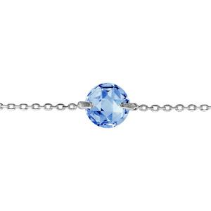 1001 Bijoux - Bracelet argent rhodié rond pierre bleue pas cher