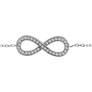 1001 Bijoux - Bracelet argent rhodié forme huit (infini) pierres blanches 16,5+1+1cm pas cher