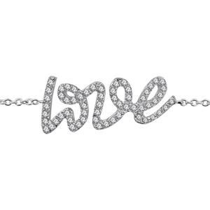 1001 Bijoux - Bracelet argent rhodié Love pierres blanches 16+2cm pas cher