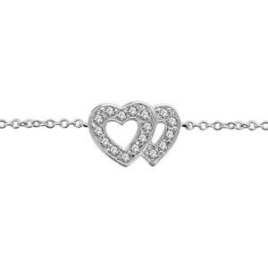 1001 Bijoux - Bracelet argent rhodié double coeur ajouré contour pierres blanches 16+2cm pas cher