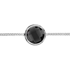1001 Bijoux - Bracelet argent rhodié 1 pierre facette noire sertie clos 16+3cm pas cher