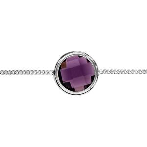 1001 Bijoux - Bracelet argent rhodié 1 pierre facette violette sertie clos 16+3cm pas cher