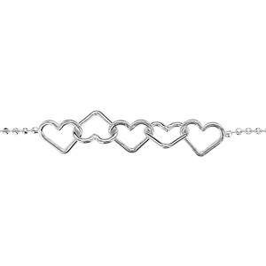 1001 Bijoux - Bracelet argent chaîne boules 5 coeurs 18cm pas cher