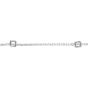 1001 Bijoux - Collier argent 3 motifs carrés 18,5cm pas cher