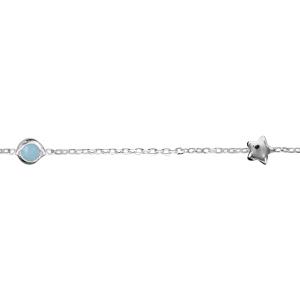 Image of Bracelet argent pierre bleue ciel 2 étoiles 18cm