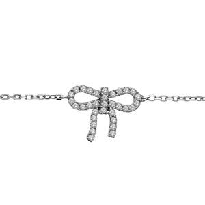 Image of Bracelet argent rhodié motif noeud strass blancs 17,5+1,5cm