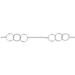 1001 Bijoux - Bracelet argent chaîne boules facettes 2 ensembles de 3 cercles 18cm pas cher