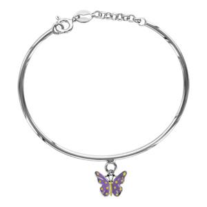 Image of Bracelet argent rhodié enfant semi-rigide pampille papillon violet