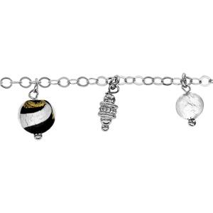 Image of Bracelet argent rhodié 3 boules verre de Murano avec 2 pampilles motifs 18+2cm
