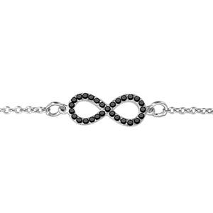 1001 Bijoux - Bracelet argent rhodié forme huit (infini) petit modèle pierres noires 16+2cm pas cher