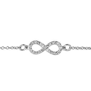 1001 Bijoux - Bracelet argent rhodié forme huit (infini) petit modèle pierres blanches 16+2cm pas cher