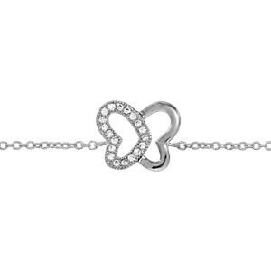 Image of Bracelet argent rhodié forme papillon ajourée oxydes blancs sertis 16+2cm