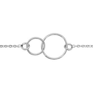 1001 Bijoux - Bracelet argent rhodié motif double cercle 16+3cm pas cher