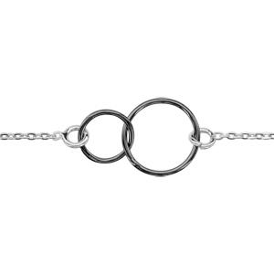 1001 Bijoux - Bracelet argent rhodié motif double cercle PVD noir 16+3cm pas cher