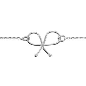 1001 Bijoux - Bracelet argent rhodié motif double noeud 16+3cm pas cher
