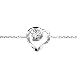 1001 Bijoux - Bracelet argent rhodié coeur sphère résine strass blancs 18+2cm pas cher