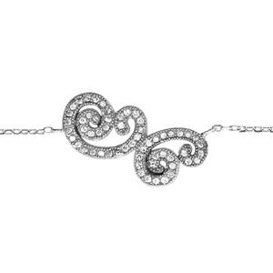 1001 Bijoux - Bracelet argent rhodié forme arabesque oxydes blancs sertis 15+2cm pas cher