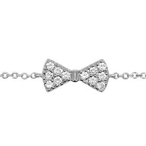 1001 Bijoux - Bracelet argent rhodié noeud papillon oxydes blancs sertis 16+2cm pas cher
