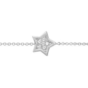 1001 Bijoux - Bracelet argent rhodié étoile oxydes blancs sertis 16+2cm pas cher