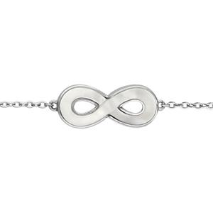 1001 Bijoux - Bracelet argent rhodié motif infini nacre blanche vértitable 16+3cm pas cher