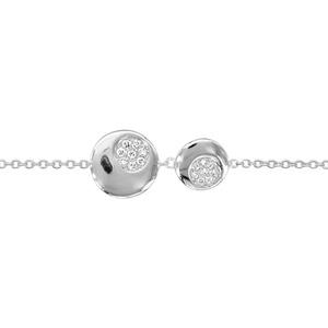 1001 Bijoux - Bracelet argent rhodié 2 disques oxydes blancs sertis 16+2cm pas cher