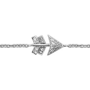 1001 Bijoux - Bracelet argent rhodié motif flèche oxydes blancs sertis 16+2cm pas cher