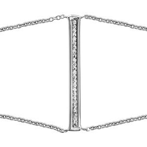 1001 Bijoux - Bracelet argent rhodié rectangle oxydes blancs sertis 16+2cm pas cher