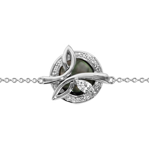 Image of Bracelet argent rhodié cercle nacre noire contour oxydes blancs sertis et navette blanche 16+3cm