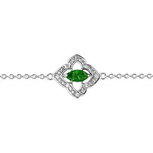 1001 Bijoux - Bracelet argent rhodié motif fleur oxydes blancs sertis et navette pierre verte 16+3cm pas cher