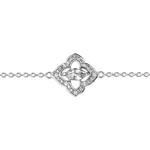 1001 Bijoux - Bracelet argent rhodié motif fleur oxydes blancs sertis et navette pierre blanche 16+3cm pas cher