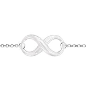 1001 Bijoux - Bracelet argent rhodié motif infini céramique blanche 16+3cm pas cher
