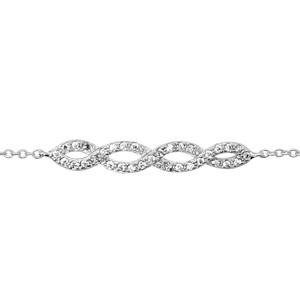 1001 Bijoux - Bracelet argent rhodié entrelacé oxydes blancs sertis 16+2cm pas cher